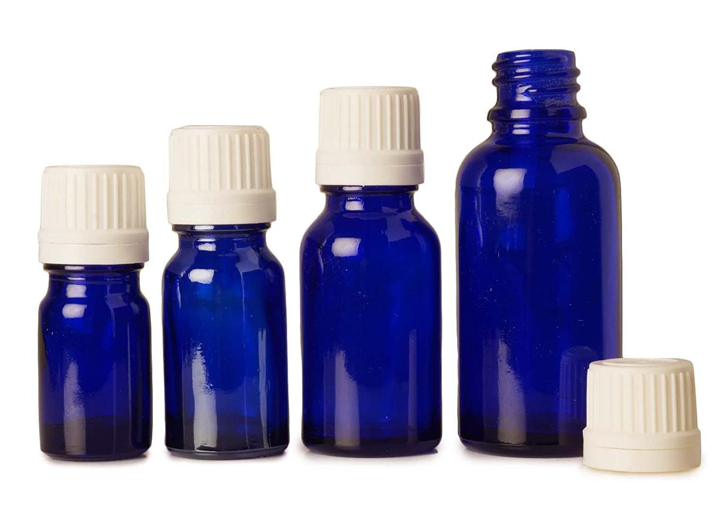 6 Pcs Blue Glass Aromatherapy Empty Bottles With White Tamper Evident Cap For Essential Oils 5 ml MT Bottles & Jars