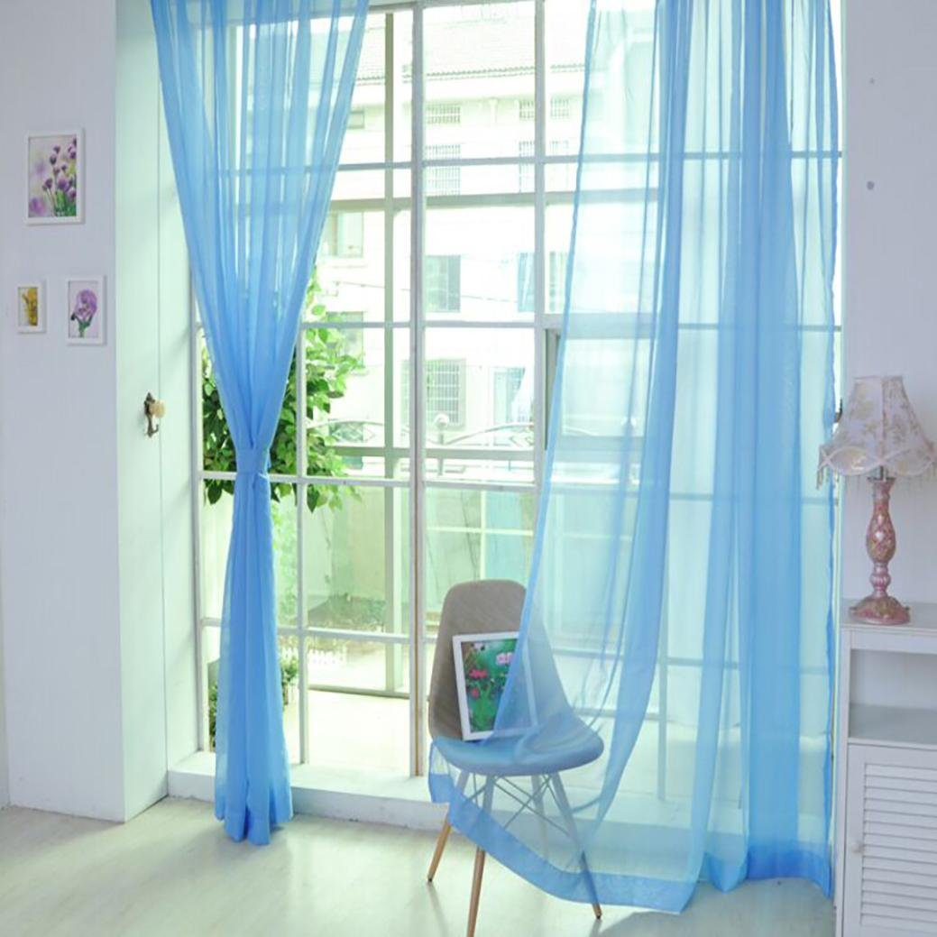 Voile Curtain, Joopee 1 PCS Pure Color Tulle Door Window Curtain Drape Panel Sheer Scarf Valances (1PC, K)