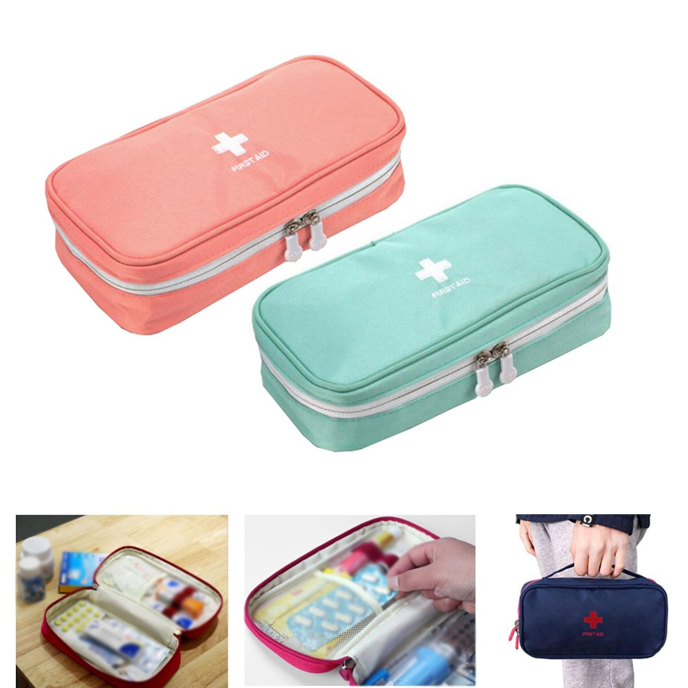 Zaptex 2-Pack Empty First Aid Pouch Camping Travel (B, Pink+Green)
