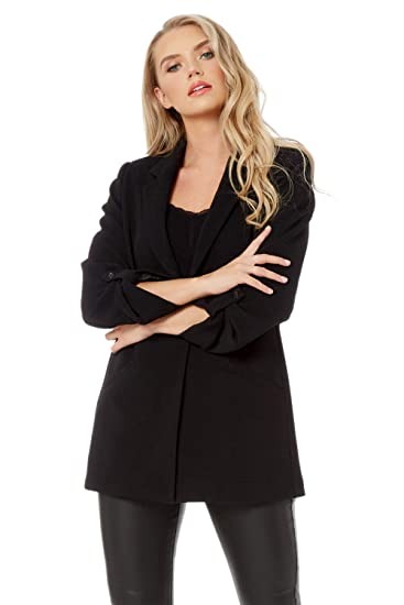 461c5474d5 Roman Originals Women Oversized Ribbed Jacket - Ladies Classic Smart Casual  Formal Evening Work Office Suit Turn Up Sleeve Long Buttoned Tailored ...