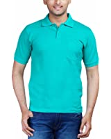 Fleximaa Men's Cotton Polo Collar T-Shirts With Pocket - Reliance Green Color