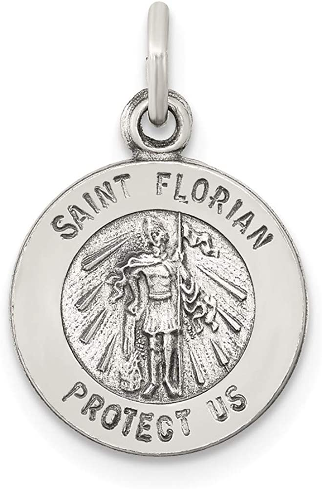 Sterling Silver Antiqued Saint Florian Medal Solid 12 mm 18 mm Themed Pendants /& Charms Jewelry