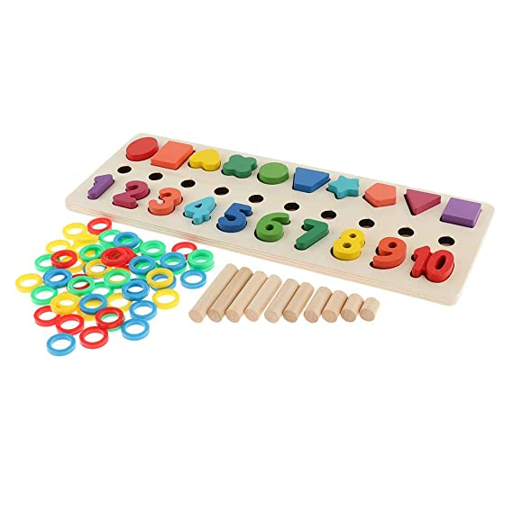 fe9502ddd0ada F Fityle Counting Shape Number Learning Toy - Wooden Educational Toy  Amazon .co.uk  Toys   Games