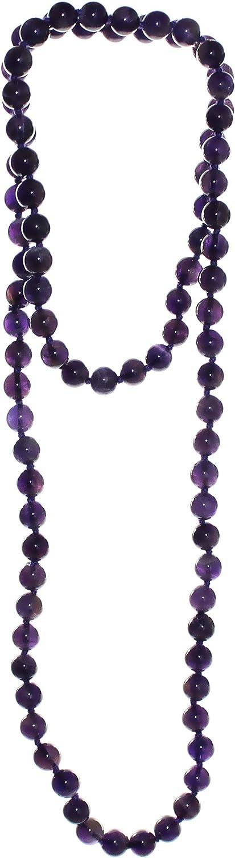 Damen Halskette aus Edelsteinen Amethyst in Achteck und Kugelform