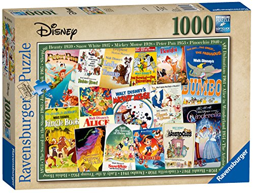 Ravensburger 19874 Disney Vintage Movie Posters 1000 Piece Puzzle for Adults, Every Piece is Unique, Softclick Technology Means Pieces Fit Together Perfectly (Ravensburger Disney Puzzle)