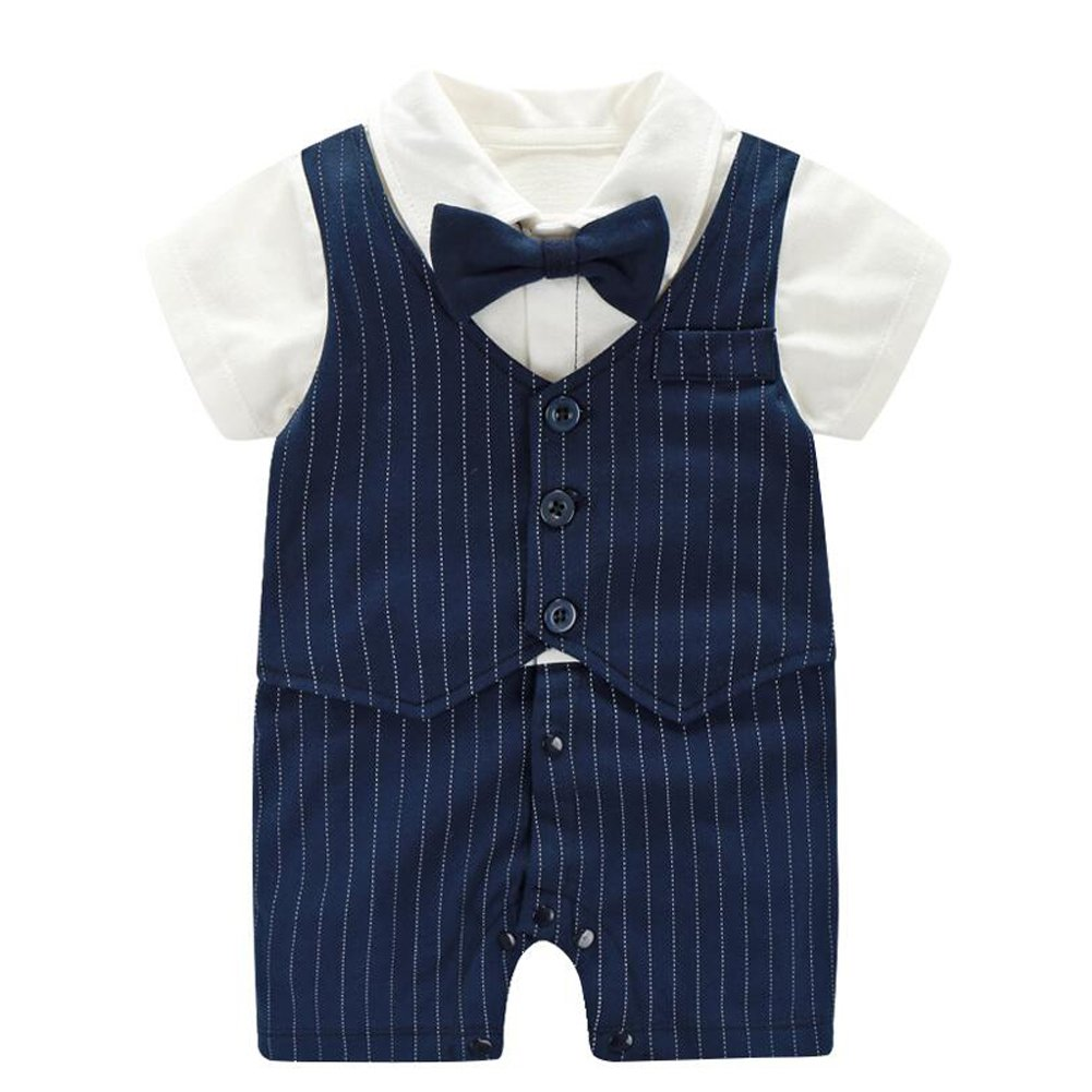 Fairy Baby Baby Boy Formal Outfit Short Sleeve Tuxedo Plaid Gentleman Suit,0-3M,Navy Blue Stripe by Fairy Baby