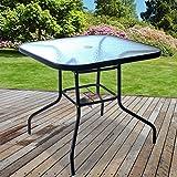 Marko Outdoor Glass Table Square Metal Frame Legs Garden Outdoor Indoor Bistro Cafe Furniture
