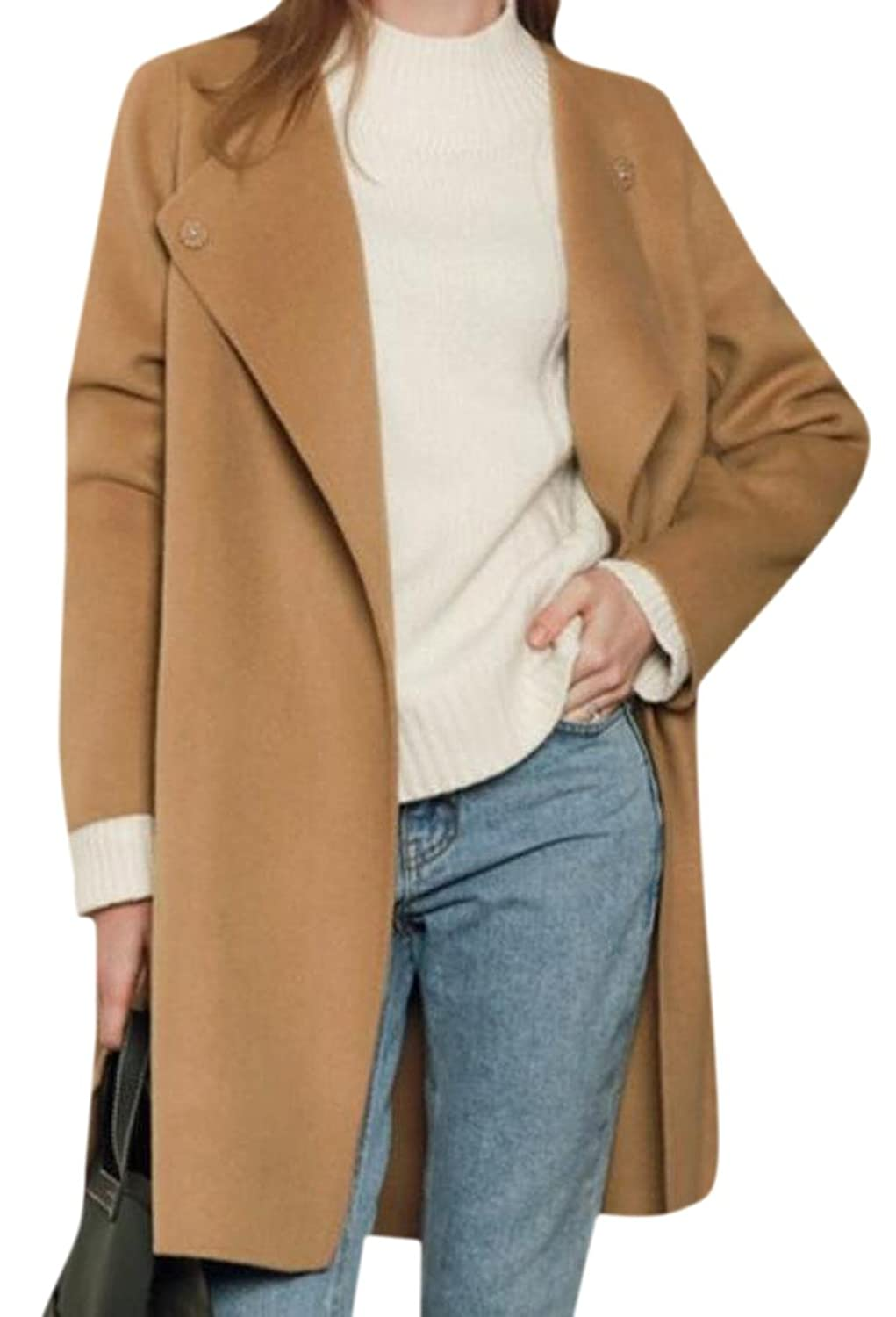 Tootless Women's Fashion Solid Colored Long Sleeve Trench Coat
