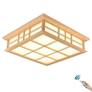 Color : Stufenloses Dimmen, Gr/ö/ße : 65X65CM SJUN Japanische Tatami Deckenlampe und Zimmerlampe LED Massivholzlampe Deckenleuchte Japanische Art Holzlampe Koreanische Lampe