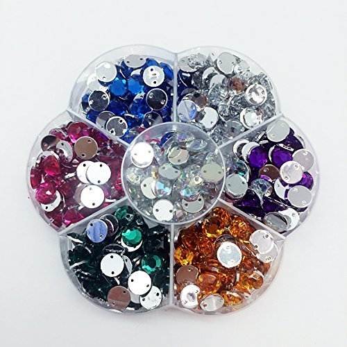 PEPPERLONELY Box (About 560PC) Mixed 7 Colors Sew On Flat Back Round Faceted Acrylic Crystals Rhinstones, 8mm(5/16 Inch) (Rhinstone Crystal)
