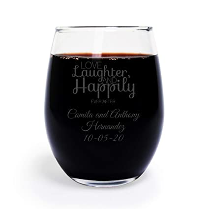 72 pack personalized engraved love laughter and happily ever after 9 oz stemless wine glass