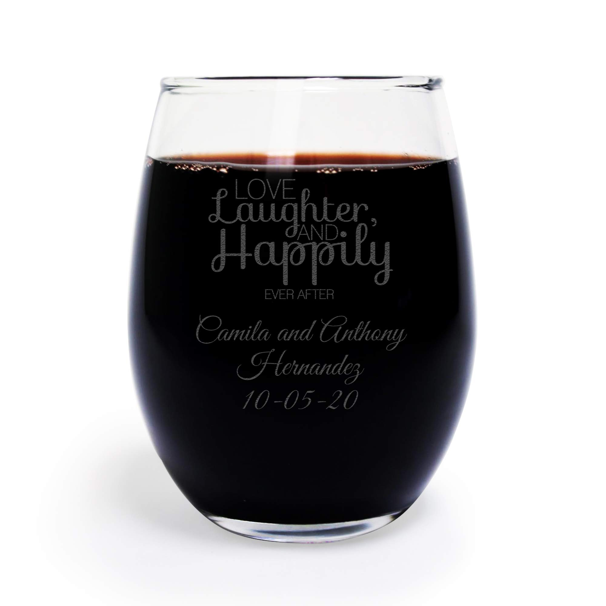 Love Laughter and Happily Ever After 9 Ounce Stemless Wine Glass, Custom Engraved Wine Glass, 48 Count, Wedding Favor Bridal Shower,