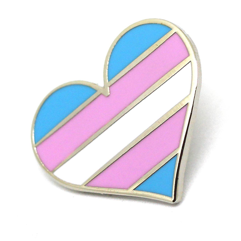 Transgender Pride pin flag LGBTQ trans heart flag lapel pin A32
