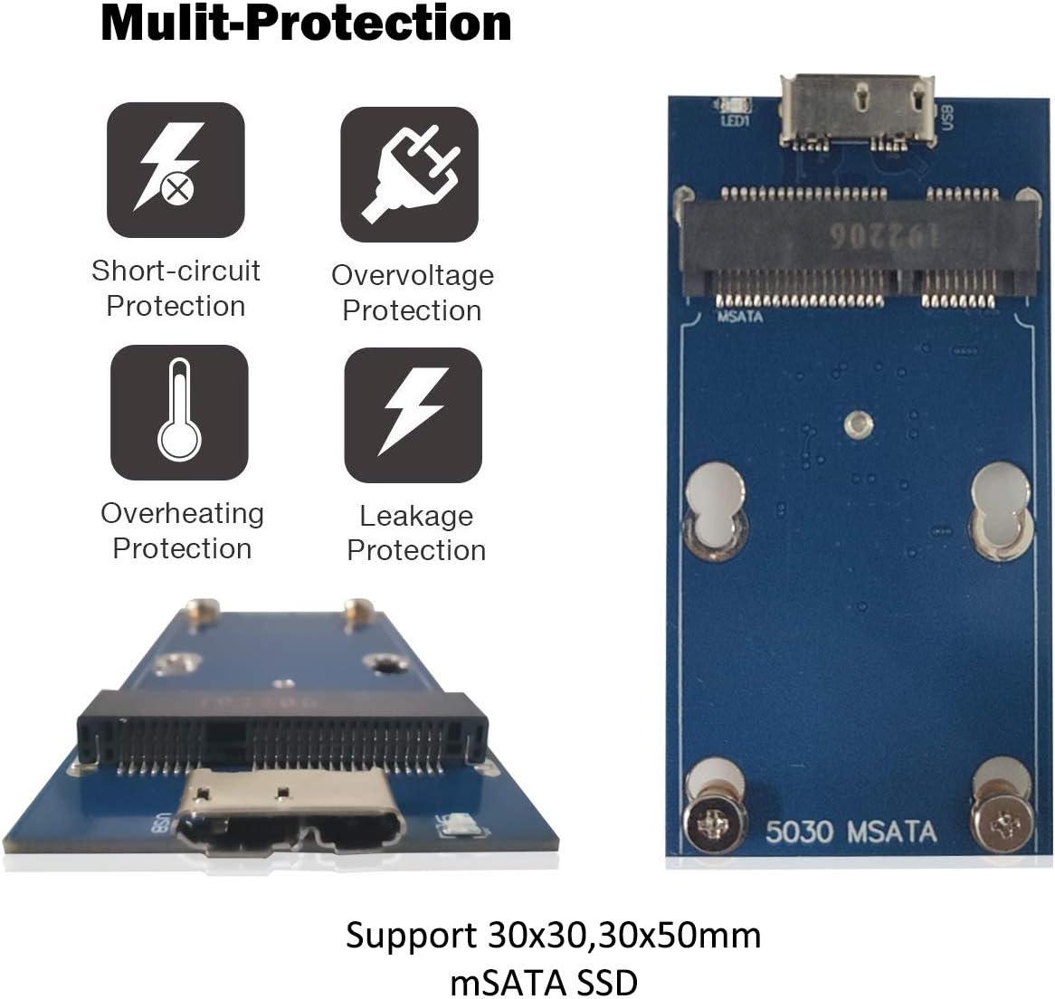 ADWITS USB 3.0 UASP a mSATA 3030/3050 Adaptador SSD SuperSpeed ...