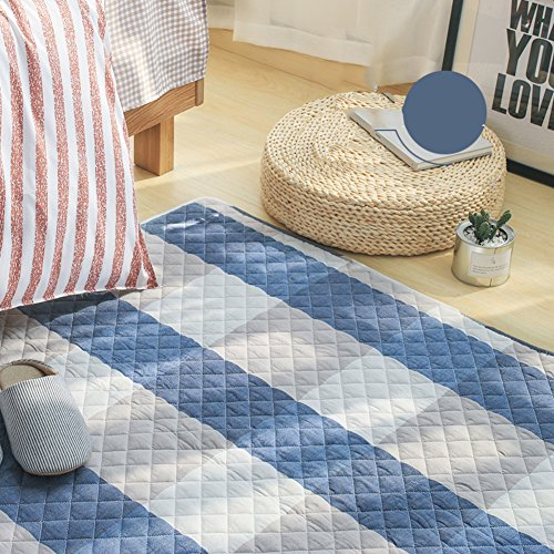 Decorative Rugs Modern Carpet Rectangle Washed Cotton mats for Bedroom Living Room Simple Nordic Thicker Coffee Table Mattress Tatami Crawler pad Non-Slip Foldable Washable-G 110x210cm(43x83inch)