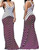 shekiss Women Sleeveless Sexy Maxi Stretch Bodycon Party Bandage Club Dresses Burgundy XLarge
