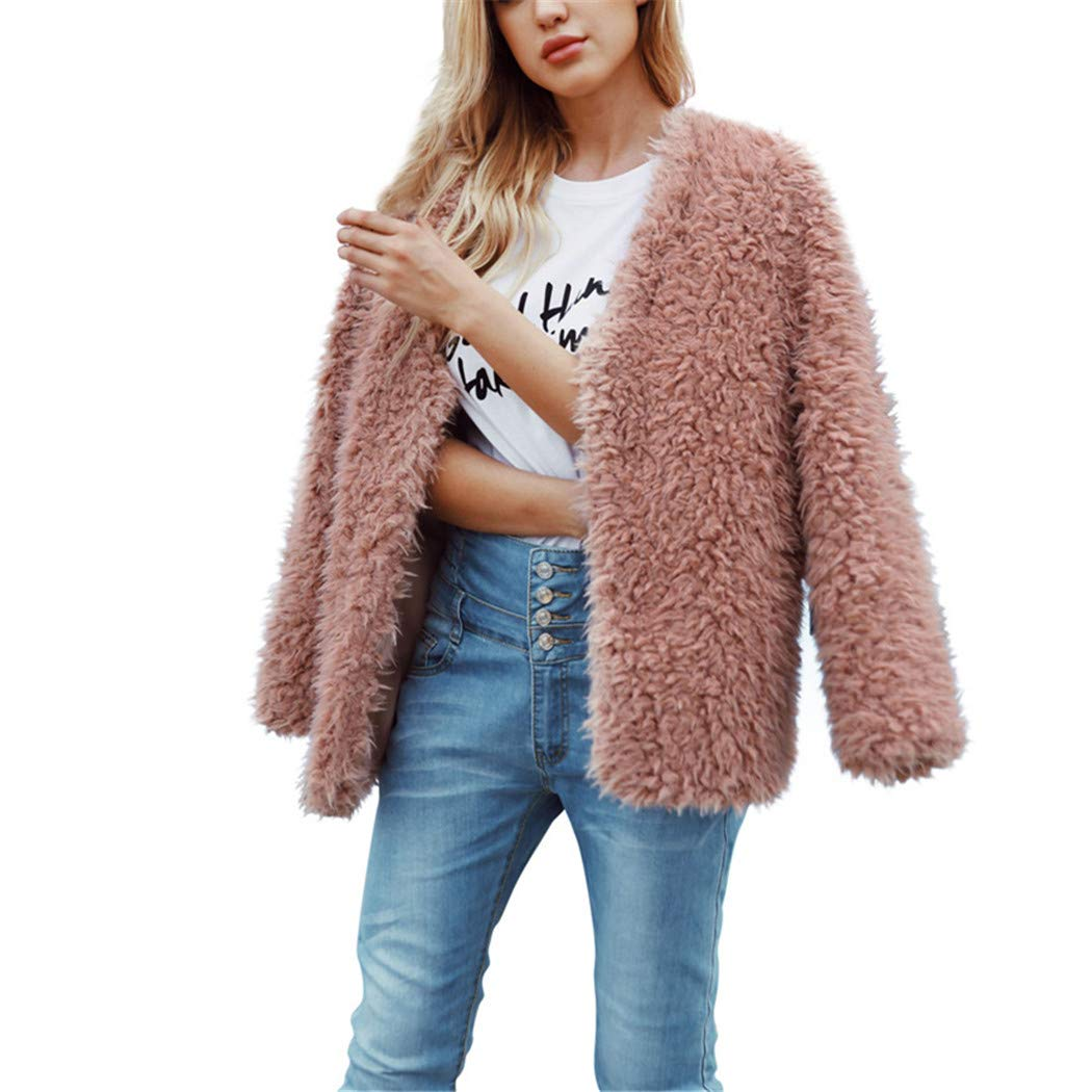 Amazon.com: AOJIAN Women Jacket Long Sleeve Outwear Warm Open Front Solid Color Plush Lady Fashion Coat Pink: Clothing