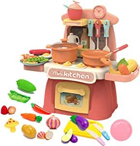CISAY Kitchen Toys,K1 Kitchen Playset for 38 Pieces,Mini Play Kitchen with Simulate Sounds and Lights,Toddler Toys Companion Suitable for Boys and Girls (Pink)