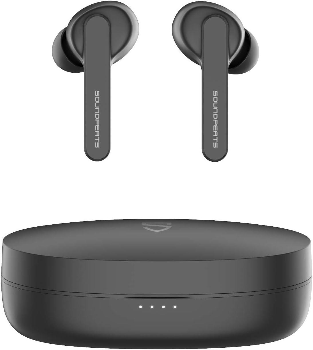 SoundPEATS Auriculares inalámbricos, Auriculares TWS Bluetooth 5.0 In-Ear Cascos Inalámbricos Bluetooth con Caja de Carga Portátil Sonido de Alta Definición, Control Tactil, IPX5
