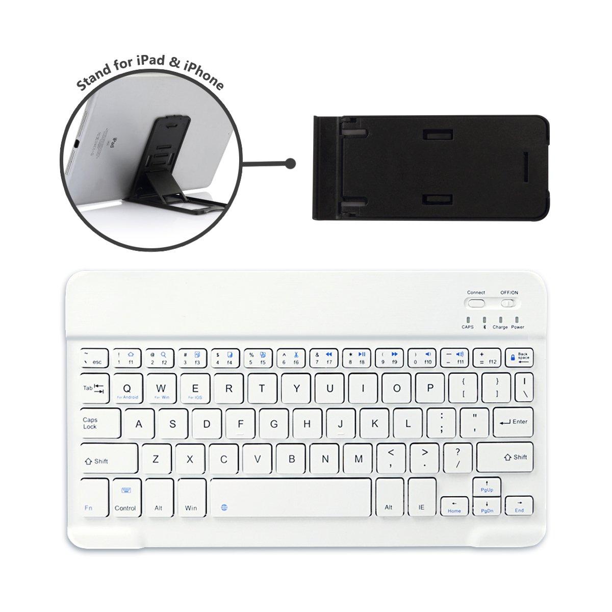 CoastaCloud Portable 10-inch Ultra Slim ABS Wireless Bluetooth Keyboard for iPad 10.5, iPad 9.7'', iPad Pro, iPad Air, iPad 2/3/4, Galaxy Tab Note and Any iOS, Android, Windows Tablets (White) by CoastaCloud (Image #1)