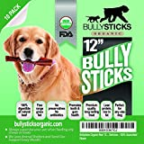 """Bullysticks Organic 12"""" Bully Sticks For Dogs - Big Bag 10 Pack Low Odor Dog Treats - All Natural Premium Beef - USDA/FDA Approved Hand Inspected Healthy Treat - 100% Happiness Guarantee!"""