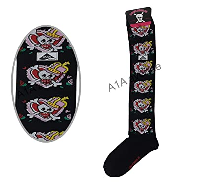 Nuevo niñas adolescentes adultos Sockaholic rodilla alta calcetines de calavera talla única UK 4 – 6