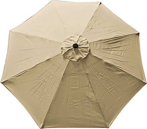 JTW 8 FT Outdoor Patio waterproof color anti-fade umbrella replacement canopy top cover 8 Ribs UV protection Polyester UV Beige color