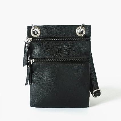 33850809055f Amazon.com: Women Double Zipper Small Hobo Messenger Cross Body Bag ...
