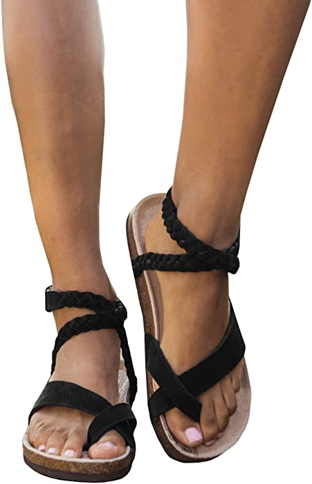 33953132193 Geckatte Womens Gladiator Sandals Flat Strappy Fisherman Ankle Strap Casual  Summer Shoes