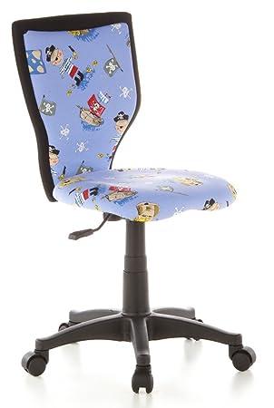 hjh OFFICE 670080 Silla para niños KIDDY LUX, giratoria, tejido azul claro con piratas: Amazon.es: Hogar