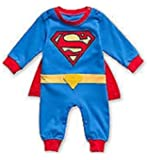 SUPERMAN BATMAN SUPERGIRL BABY GROW FUNKY CUTE FANCY DRESS OUTFIT GIFT (12-18 MONTHS, SUPERMAN LONG SLEEVE)