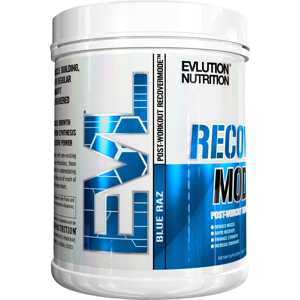 Evlution Nutrition Recover Mode Post Workout with BCAA's, Creatine, Glutamine, Beta-Alanine, L-Carnitine, Vitamins and More, 30 Servings (Blue Raz)