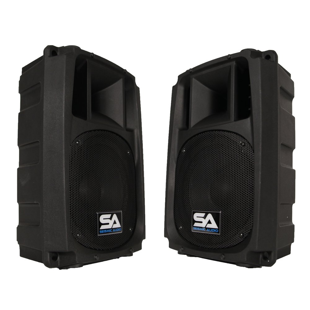Seismic Audio L_Wave-8-Pair Pair of Powered 2-Way 8-Inch PA/DJ Molded Speaker Cabinets Seismic Audio Speakers Inc.