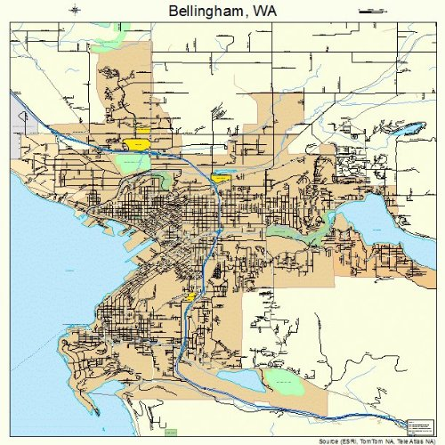 Large Street & Road Map of Bellingham, Washington WA - Printed poster size wall atlas of your home town (Bellingham Map Wa Of)