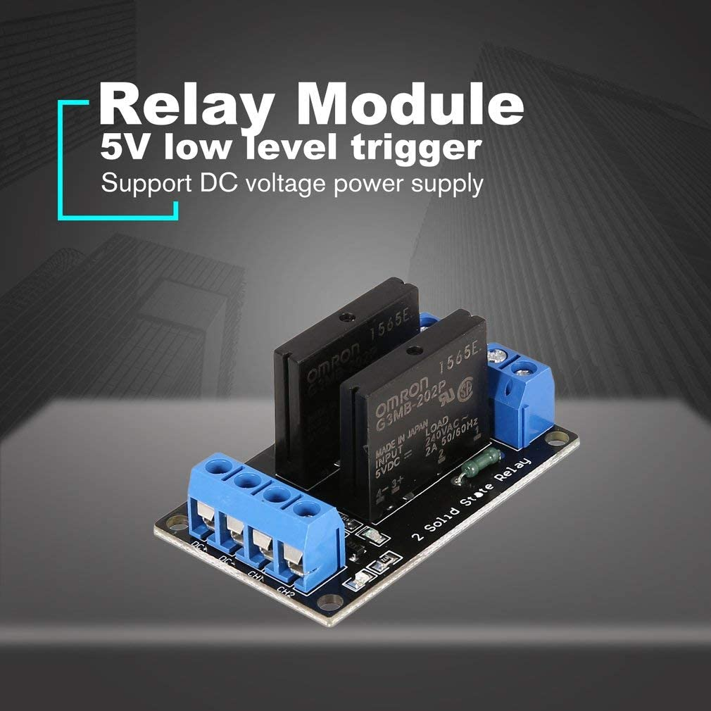 Leoboone2 Channel Solid State Relay Module Board Low Level Trigger SSR Input 5V DC Output 240V AC 2A Fuse for Arduino PLC Controller