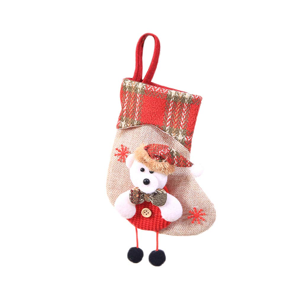 Hongxin Xmas Tree Hanging Decor,1PC Christmas Mini Sock Santa Claus Candy Gift Bag for Festival (D, 2010 cm)