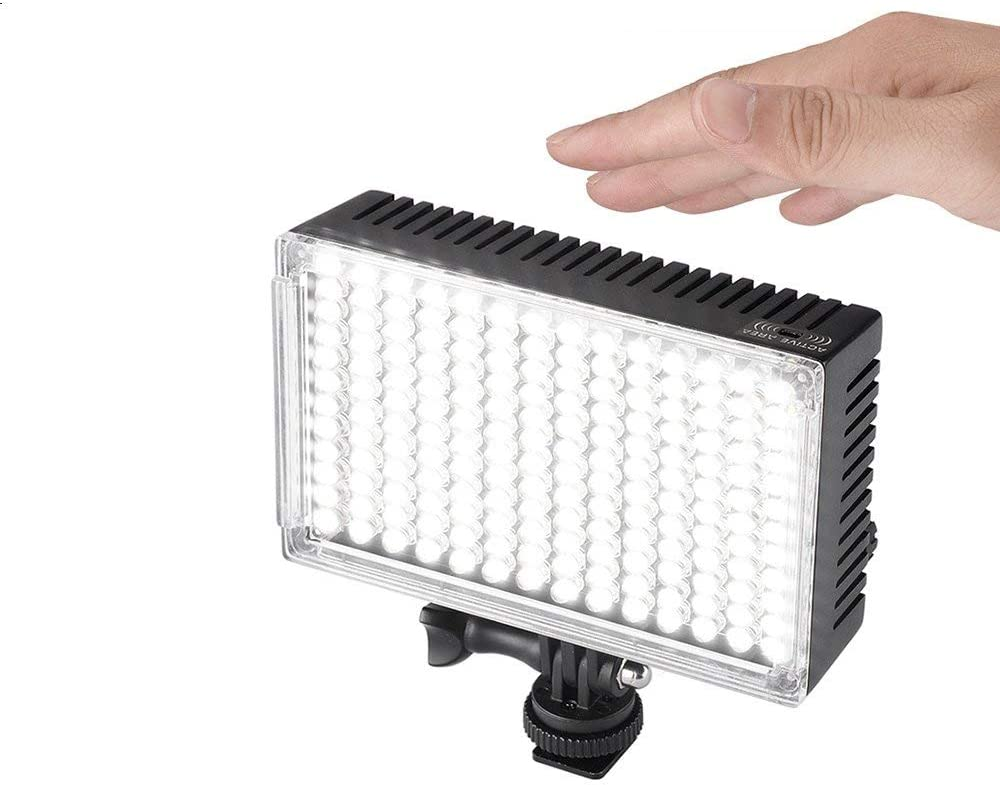 Pergear A168 Motion-Activated Dimmable On Camera Led Video Light Panel CRI90 Battery Indicator and Unique Design for Battery Safe Locking Ultra Bright 3920Lux@0.5m with 2200mAh Battery Kit