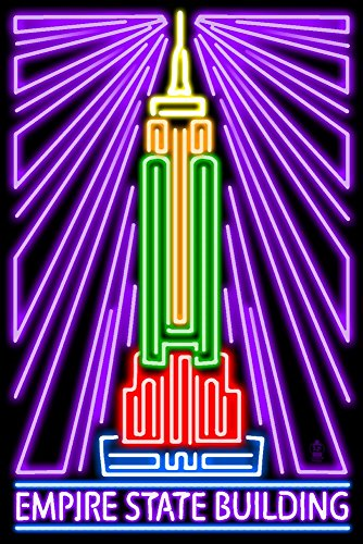 New York City, New York - Empire State Building - Neon Lights (16x24 Fine Art Giclee Gallery Print, Home Wall Decor Artwork Poster)