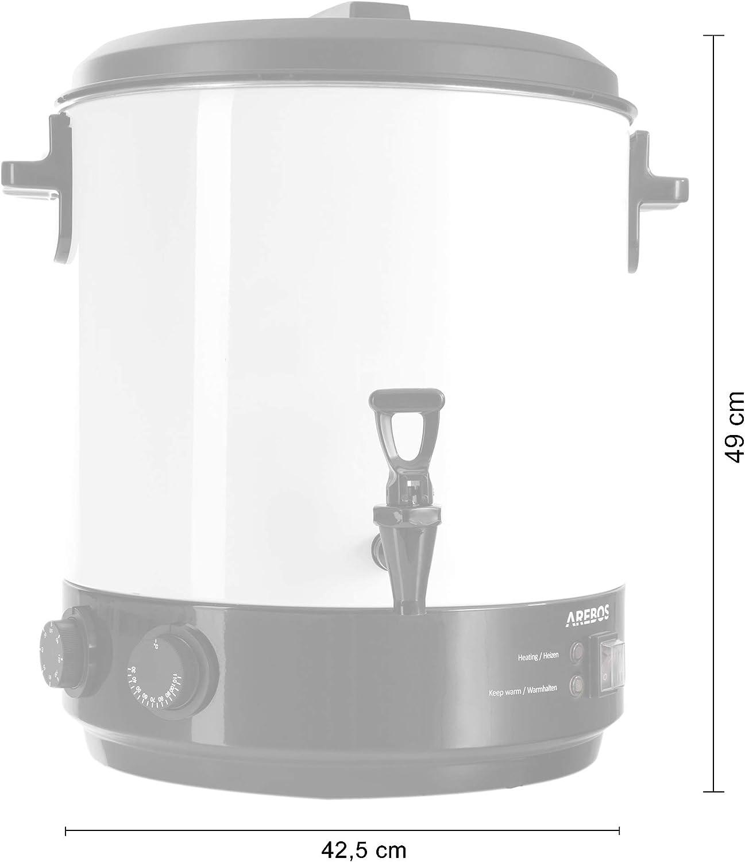 Arebos St/érilisateur et distributeur de boissons chaudes et de st/ériliser vos bocaux de confiture 28 L 1800 W inclus Minuterie et Thermostat Marmite et grille m/étallique