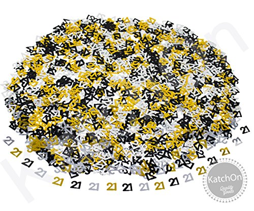 21st BIRTHDAY and ANNIVERSARY CONFETTI - 1.7 Oz | Gold Black and Silver 21 Number Confetti | 21st Birthday Party Supplies | Metallic Foil Confetti for Table Decorations