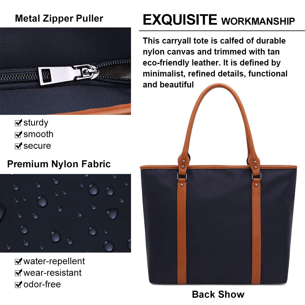Laptop Bag for Women Lightweight Nylon Work Tote Bags Business School Computer Shoulder Bag Large Capacity Briefcase Accommodate 15-15.6 Inch Laptop,Navy by ZYSUN (Image #3)