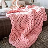 100X120cm Chunky knit blanket Merino wool arm knitted throw Super large hand knitting yarn Thick Huge Gray Cable throw Giant bulky knitting Christmas Gift Vibola (Pink)