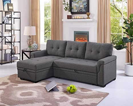 Strange Lilola Lucca Gray Linen Reversible Sleeper Sofa Storage Chaise Gmtry Best Dining Table And Chair Ideas Images Gmtryco