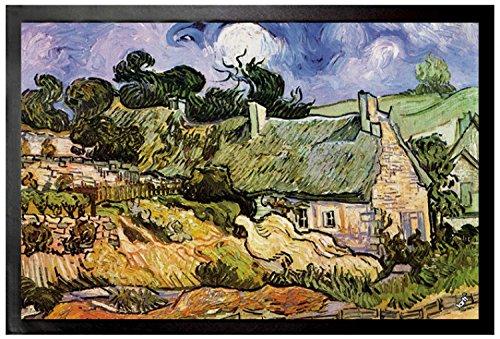 Vincent Van Gogh Door Mat Floor Mat - Thatched Cottages at Cordeville, Auvers-Sur-Oise, 1890 (24 x 16 ()
