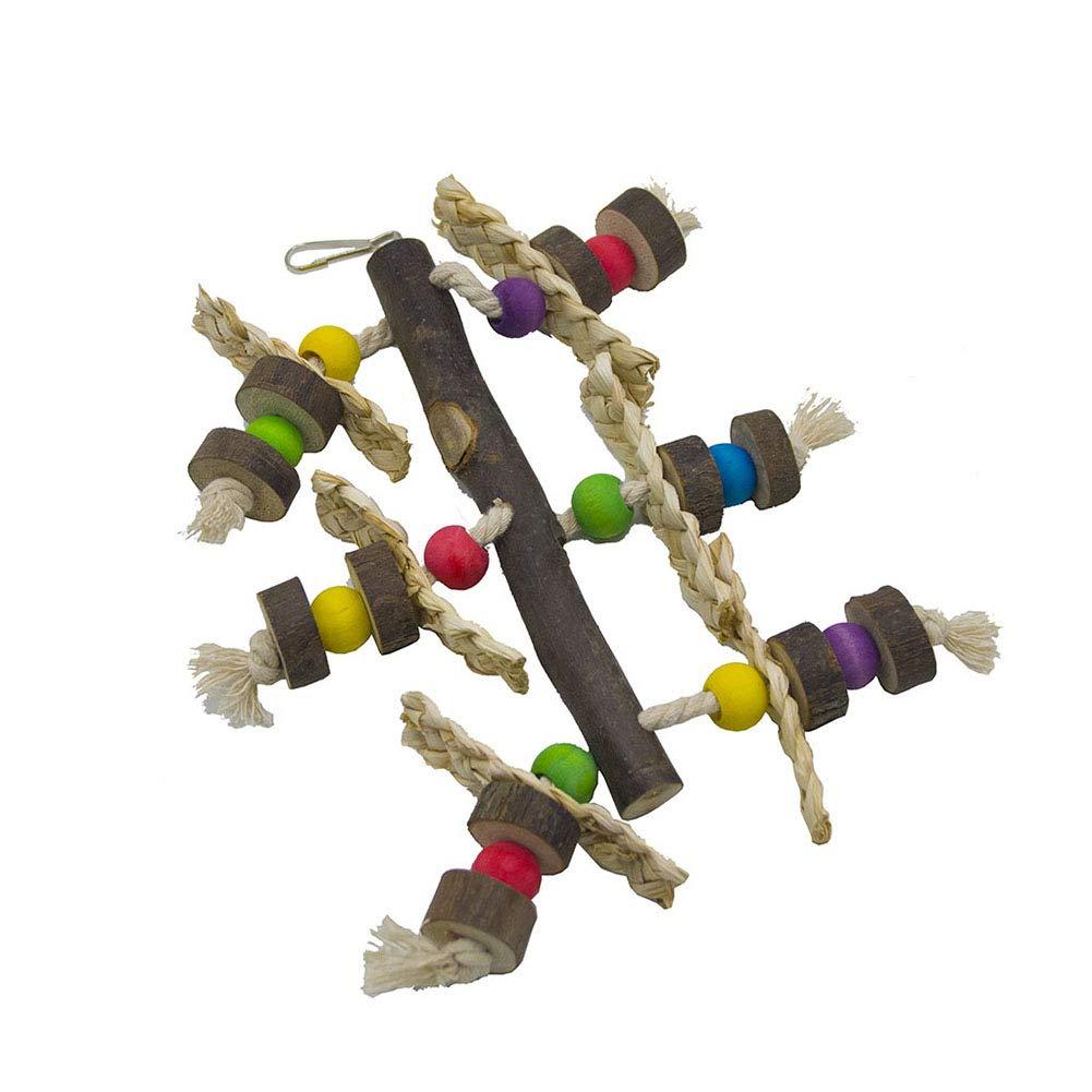 DragonPad Juguete de Loro para p/ájaros Juguetes de Escalada Hojas de ma/íz con Palomitas de ma/íz con Palomitas de Madera para Masticar Campanas Colgantes