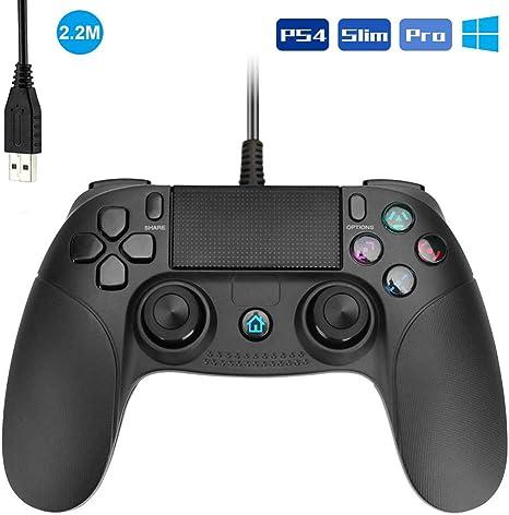 Powcan Gamepad Controller USB, Mando para PC con Cable Joysticks con Doble vibracion Turbo y Botones de activacion para PS4 / PS4 Slim / PS4 Pro y PC (Windows 7/8/10): Amazon.es: Videojuegos