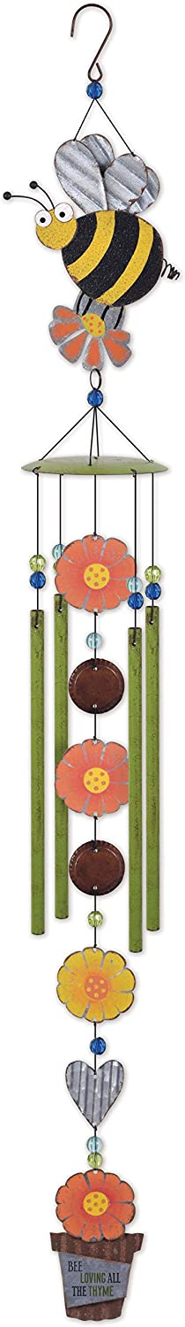 Sunset Vista Designs 93355 Country Gardens Wind Chime, Bumble Bee