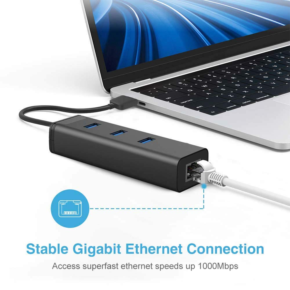 Windows USB 3.0 to Ethernet Adapter Chrome OS Linux 3-Port USB 3.0 Hub with RJ45 10//100//1000 Gigabit Ethernet Adapter Converter LAN Wired USB Network Adapter for Notebook Mac OS