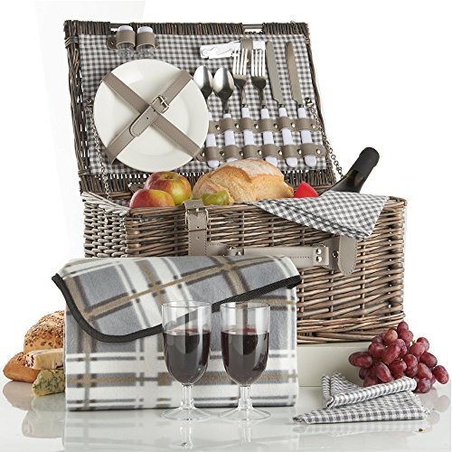 VonShef Deluxe 2 Person Traditional Wicker Picnic Basket Hamper with Cutlery, Plates, Glasses, Tableware & Fleece Blanket - Grey Gingham