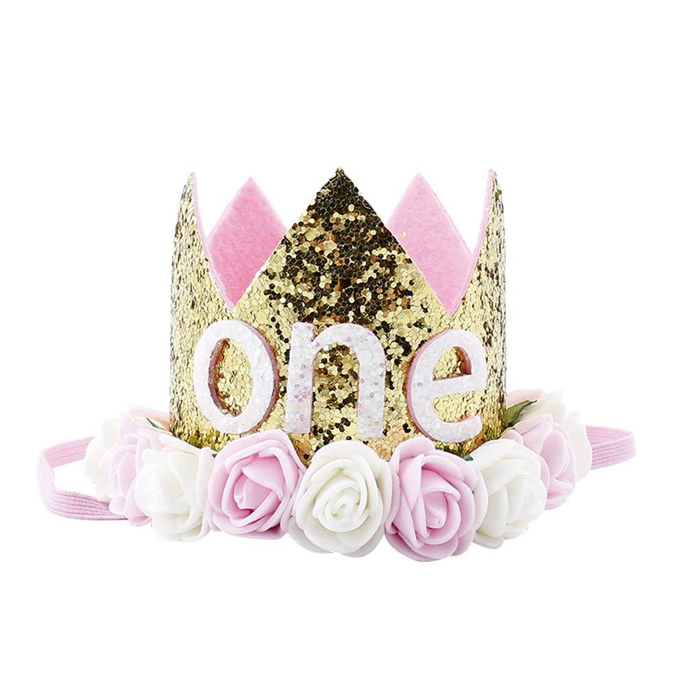 Rosa T/üt/ü Rock Krone Stirnband Prinzessin Partykleid Kleinkinder Es ist Mein erster Geburtstag Bekleidungsset Geburtstag Outfit Spitze Baumwolle Body Strampler Shirt FYMNSI Baby M/ädchen 1